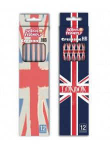 Creioane HB 12/set cu radiera LONDON
